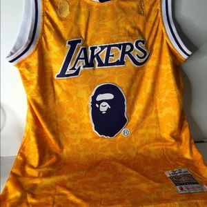 New A Bathing Ape X Mitchell & Ness Baker Lakers J